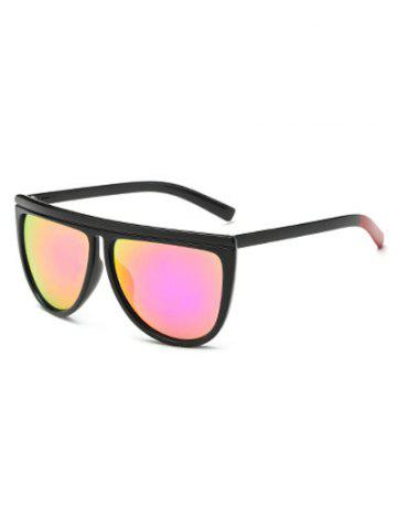 Discount Streetwear Color Block Leg Oversized Mirrored Sunglasses