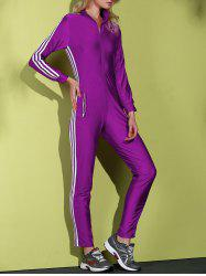 Active Side Striped Long Sleeve Zippered Bodycon Jumpsuit For Women - PURPLE