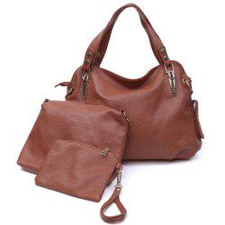 Simple Solid Color and Rivets Design Women's Shoulder Bag - BROWN