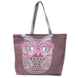 Casual Owl Pattern and Canvas Design Women's Shoulder Bag -