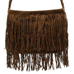Stylish Fringe and Weaving Design Women's Crossbody Bag - CAMEL