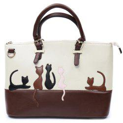 Ladylike Animal Pattern and Color Block Design Women's Tote Bag - APRICOT