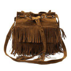 Retro Style Tassels and Suede Design Women's Crossbody Bag - BROWN