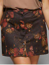 Button Design Floral Print Slimming Skirt -