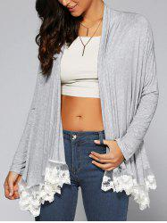 Lace Patchwork Asymmetrical Cardigan -