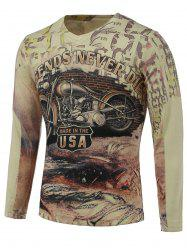 3D Motorcycle Print V-Neck Long Sleeve Sweater - COLORMIX 3XL