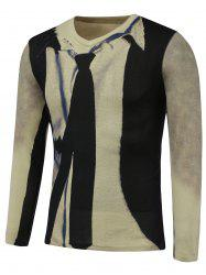 3D Tie Print V-Neck Long Sleeve Sweater - COLORMIX 3XL