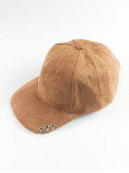 Metal Circle Hoop Embellished Faux Suede Baseball Hat -