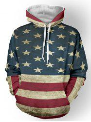 Color Spliced Star Print Striped Pullover Hoodie - DEEP BLUE