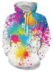 Paint Splatter Print Long Sleeve Pullover Hoodie - WHITE