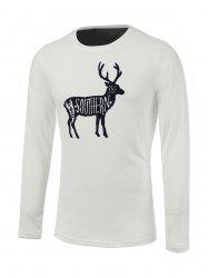 Letter Elk Print Long Sleeve Round Neck T-Shirt -