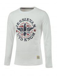 Letter and Wings Print Long Sleeve Round Neck T-Shirt - WHITE 2XL