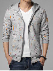 Paint Splatter Print Zip Up Long Sleeve Hoodie -