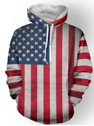 Pullover Distressed American Flag Hoodie - RED