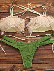 Halter Mesh Spliced Cut Out Bikini Set - GREEN L