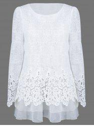 Mesh Patchwork Layered Lace Tunic Blouse - WHITE