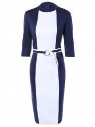 Zipper Up Sheath Dress With Belt