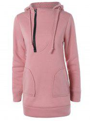 Zipper Up Double Pockets Hoodie - LIGHT PINK XL