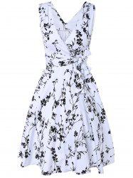 Surplice Tiny Floral Cute Midi Skater Dress -