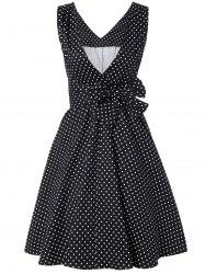 Bowknot Polka Dot Swing Fit and Flare Dress - BLACK M