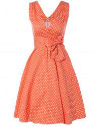 Bowknot Polka Dot Swing Fit and Flare Dress -
