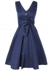 Bowknot Polka Dot Fit and Flare Dress - NAVY BLUE XL