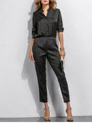 Buttoned High Waist Long Sleeves Jumpsuit -