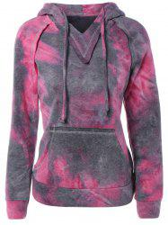 Ombre Topstitched Pocket Design Hoodie - ROSE RED XL