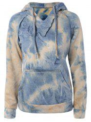 Ombre Topstitched Pocket Design Hoodie - YELLOW L