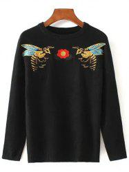 Bee Embroidered Stretchy Pullover Sweater -