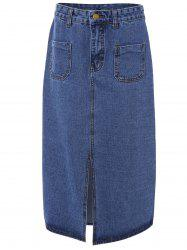 Double Pocket Split Denim Skirt -