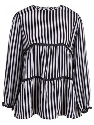 Plus Size Long Sleeve Striped Blouse