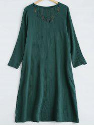Embroidery Long Sleeve Loose Dress -