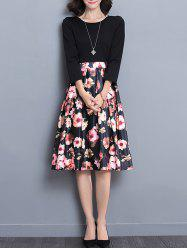 High Wait Floral Print Midi Dress -