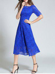 Boat Neck Sheer Lace Dress -