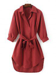 Tied-Up Belted Asymmetric Shirt Dress -