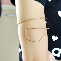 Vintage Alloy Half Round Arm Chain Jewelry - GOLDEN