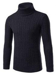 Turtle Neck Kink Design Slimming Ribbed Sweater - BLACK