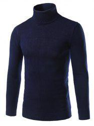 Turtle Neck Slimming Long Sleeve Sweater - CADETBLUE