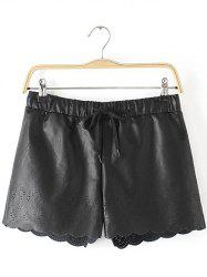 Openwork Drawstring Scalloped Leather Shorts -