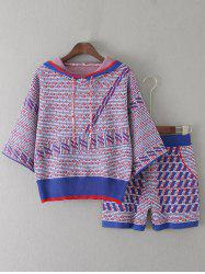 Hooded Knitwear and Patterned Jacquard Shorts Twinset -