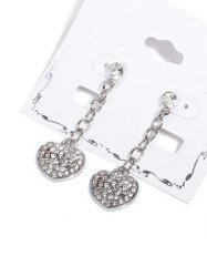 Rhinestone Emboss Love Heart Drop Earrings -