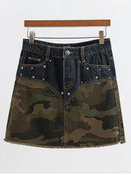 Rivet Design Spliced Camo Print Skirt -