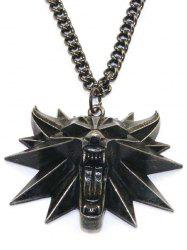 Wolf Head Alloy Pendant Necklace -