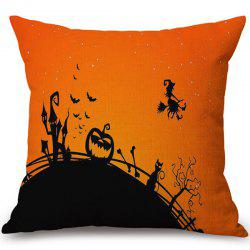 Soft Happy Halloween Witch Printed Decorative Pillow Case -