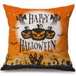 Happy Halloween Pumpkin Printed Decorative Soft Pillow Case -