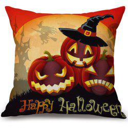 Happy Halloween Pumpkins Printed Decorative Soft Pillow Case -