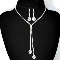 Teardrop Rhinestone Bolo Necklace Set - WHITE GOLDEN
