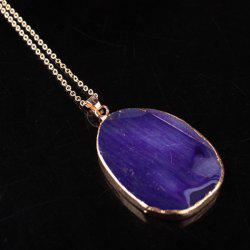Irregular Faux Amethyst Gem Pendant Necklace