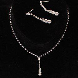 Longline Rhinestone Pendant Necklace Set
